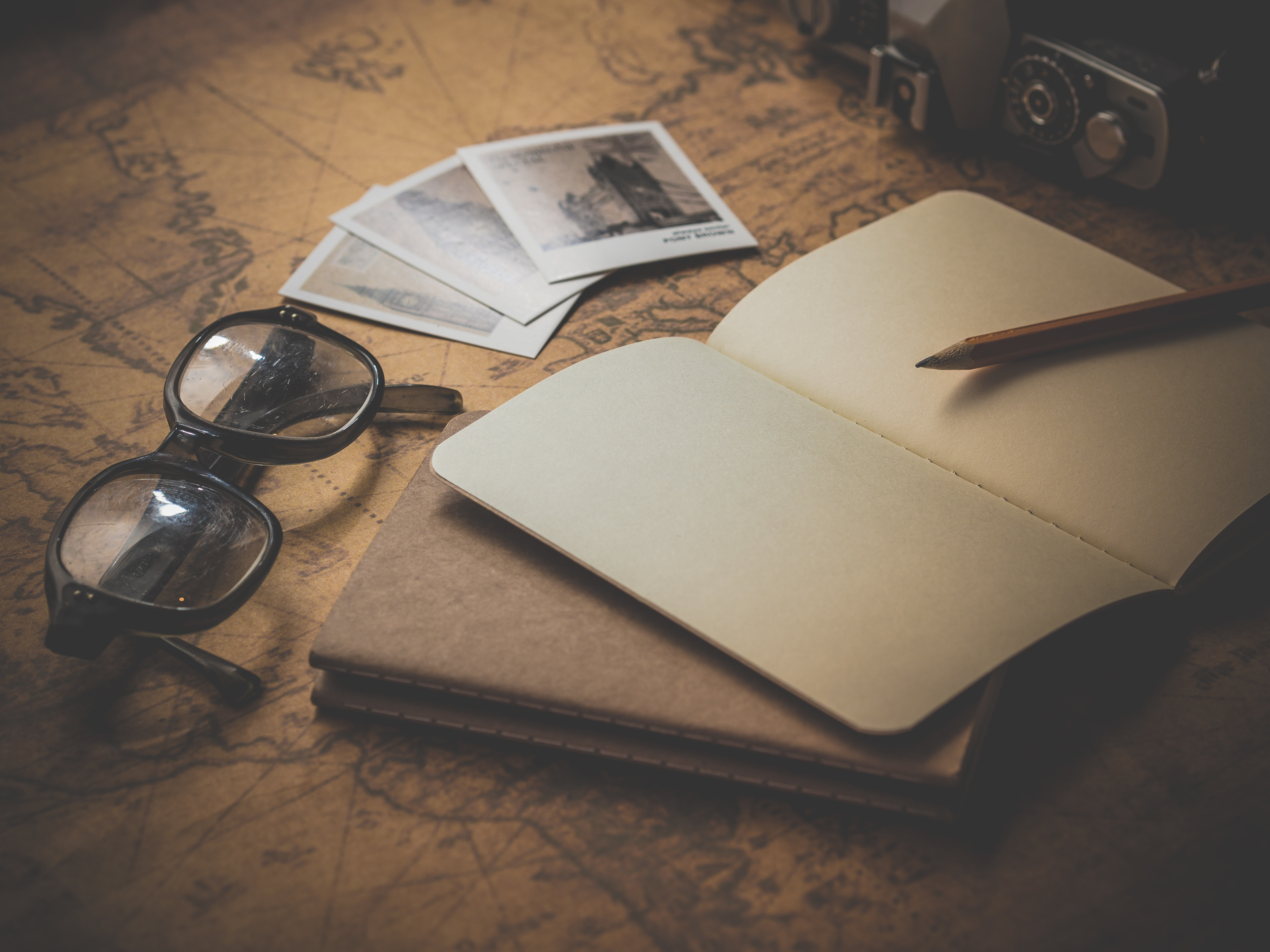 Blank travel journal, travel, ancient, notepad, map, sunglasses, travel, plan