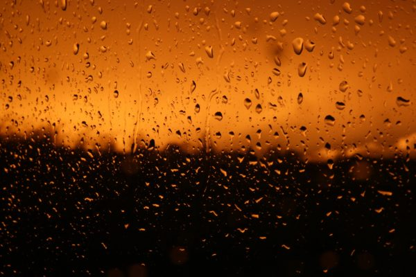 Drops on glass after the storm, raindrops, crystal, glass, rain, sunset, orange sky, drops