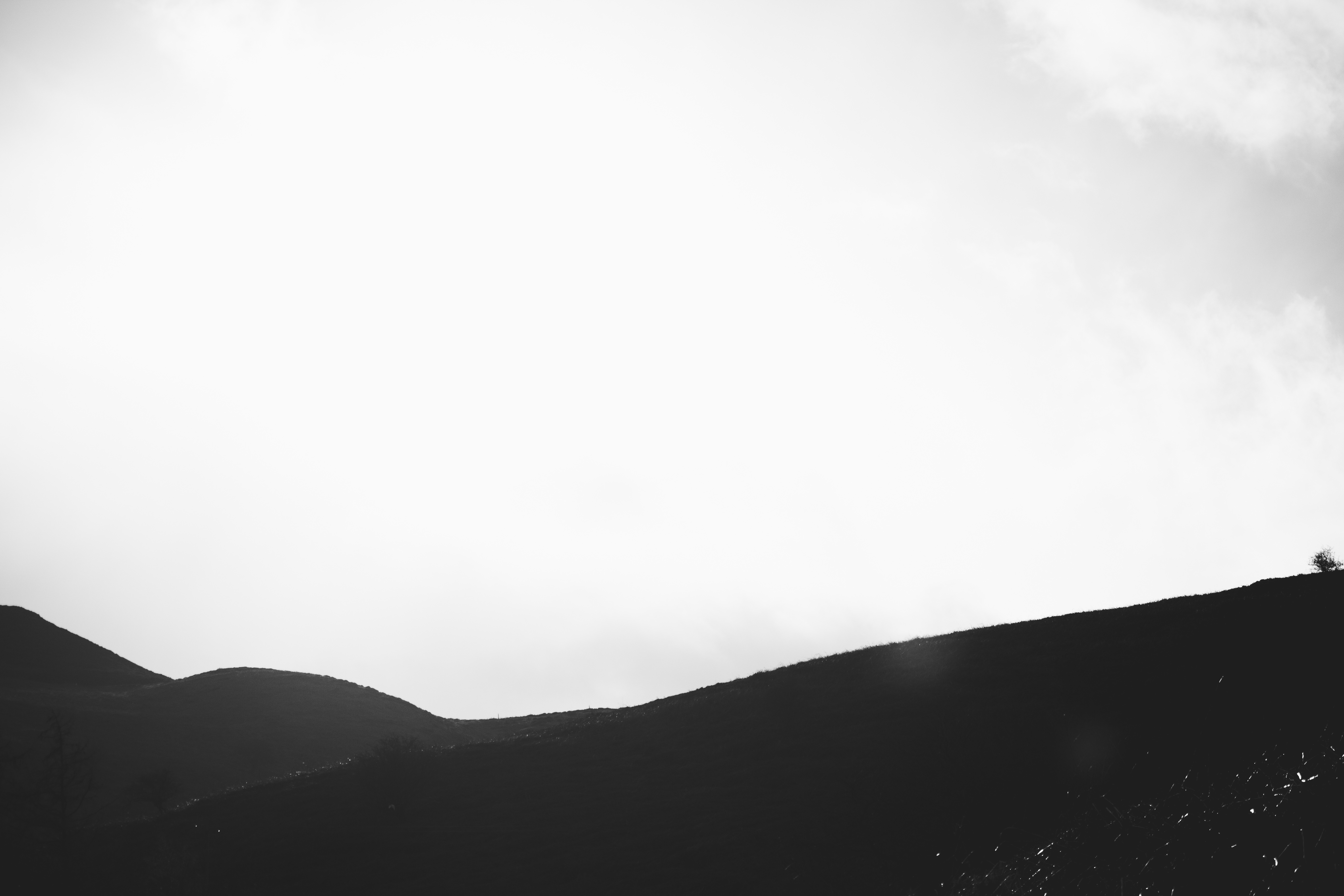 Dunes in black and white, dunes, mountains, hills, silhouettes, shadows, light, white and black