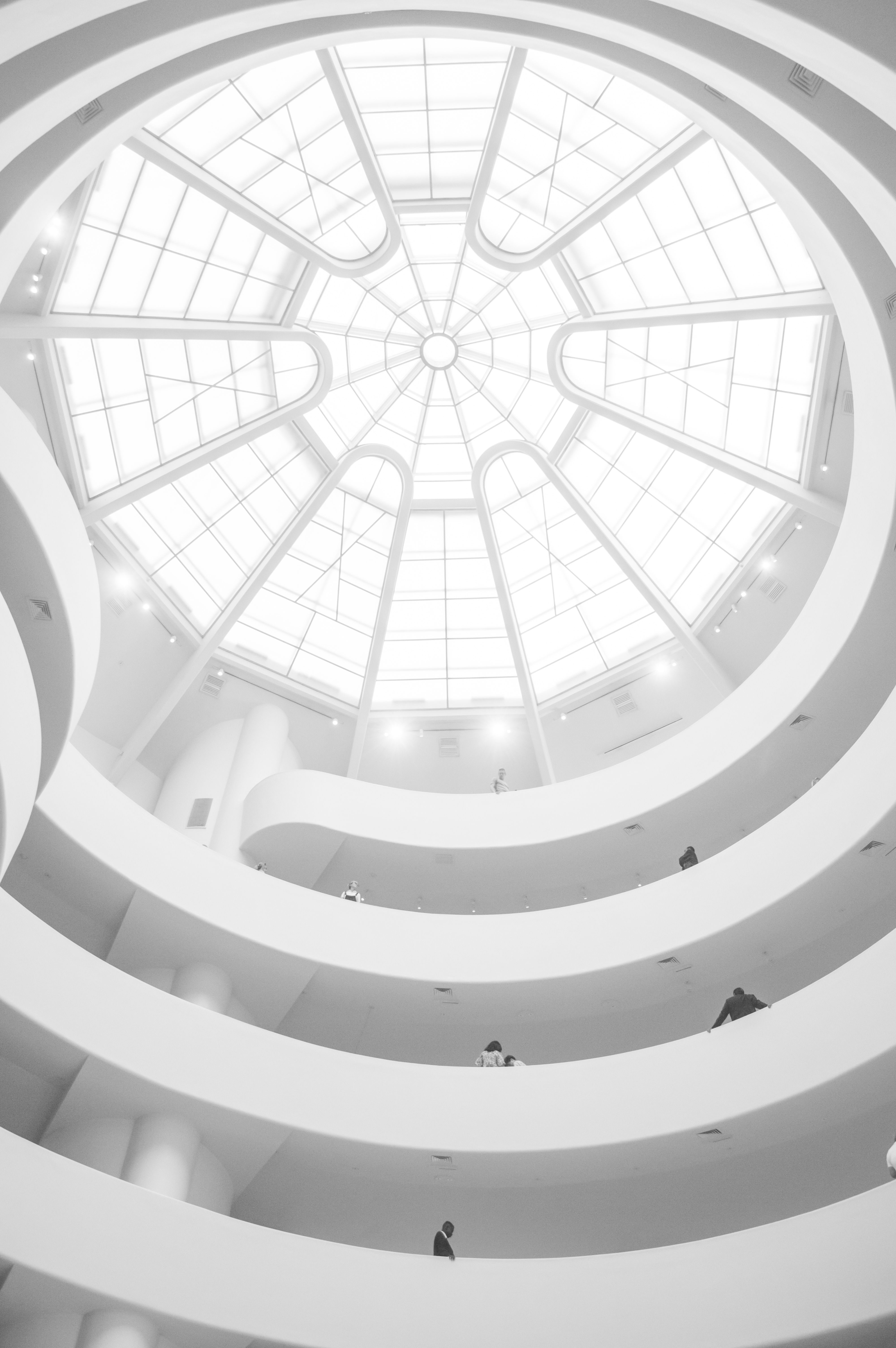 Inside New York Guggenheim museum, guggenheim, architecture, white, black and white, glow, light, interior, inside, art, modern, new york