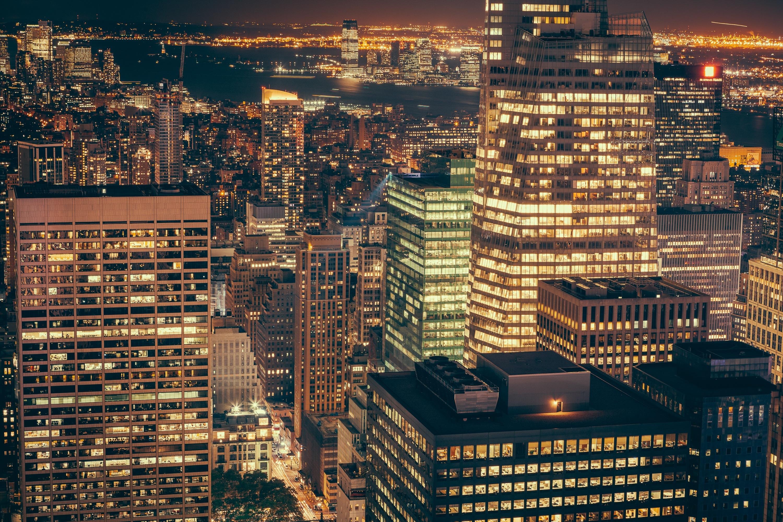 Lights in the big city, lights, city, light, windows, night, buildings, skyscraper city