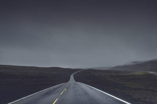 Lonely road, desolate road, route, road, nothing, quiet road, route, dusk, dawn, cold, morning