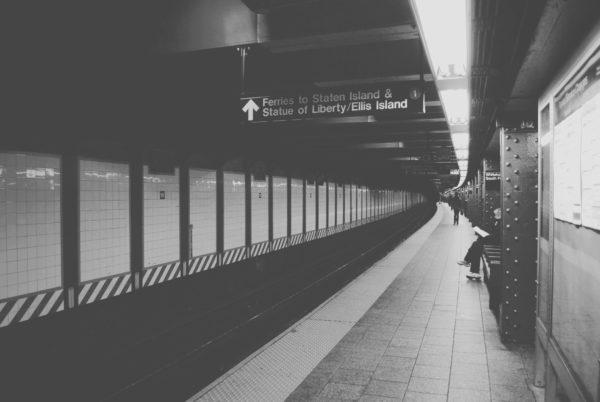 New York subway station, underground, subway, metro, trains, depth, black and white, train