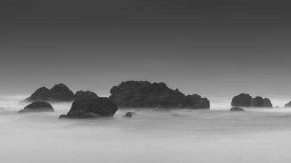 Rocks emerging from the mist, rocks, fog, cliffs, white and black, haze