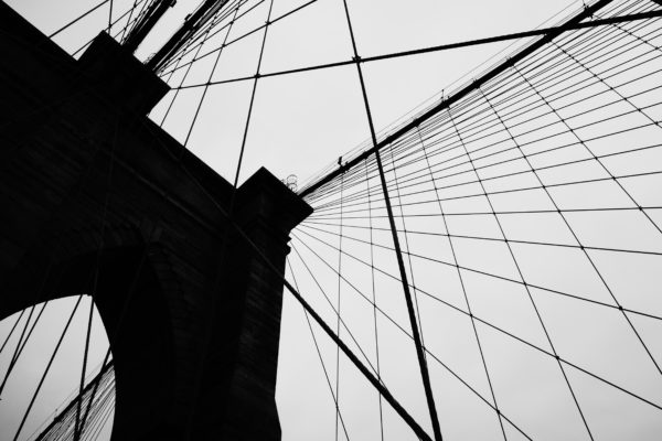 Shadow Brooklyn Bridge, bridge, new york, city, ancient, Brooklyn Bridge, black and white, sky