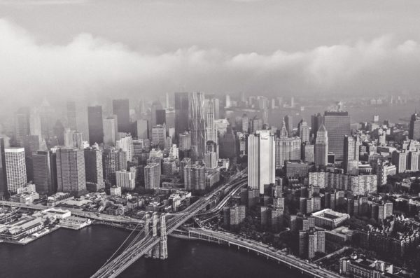 Manhattan in black and white, island, new york, manhattan, bridge, blooklyn, air, photography