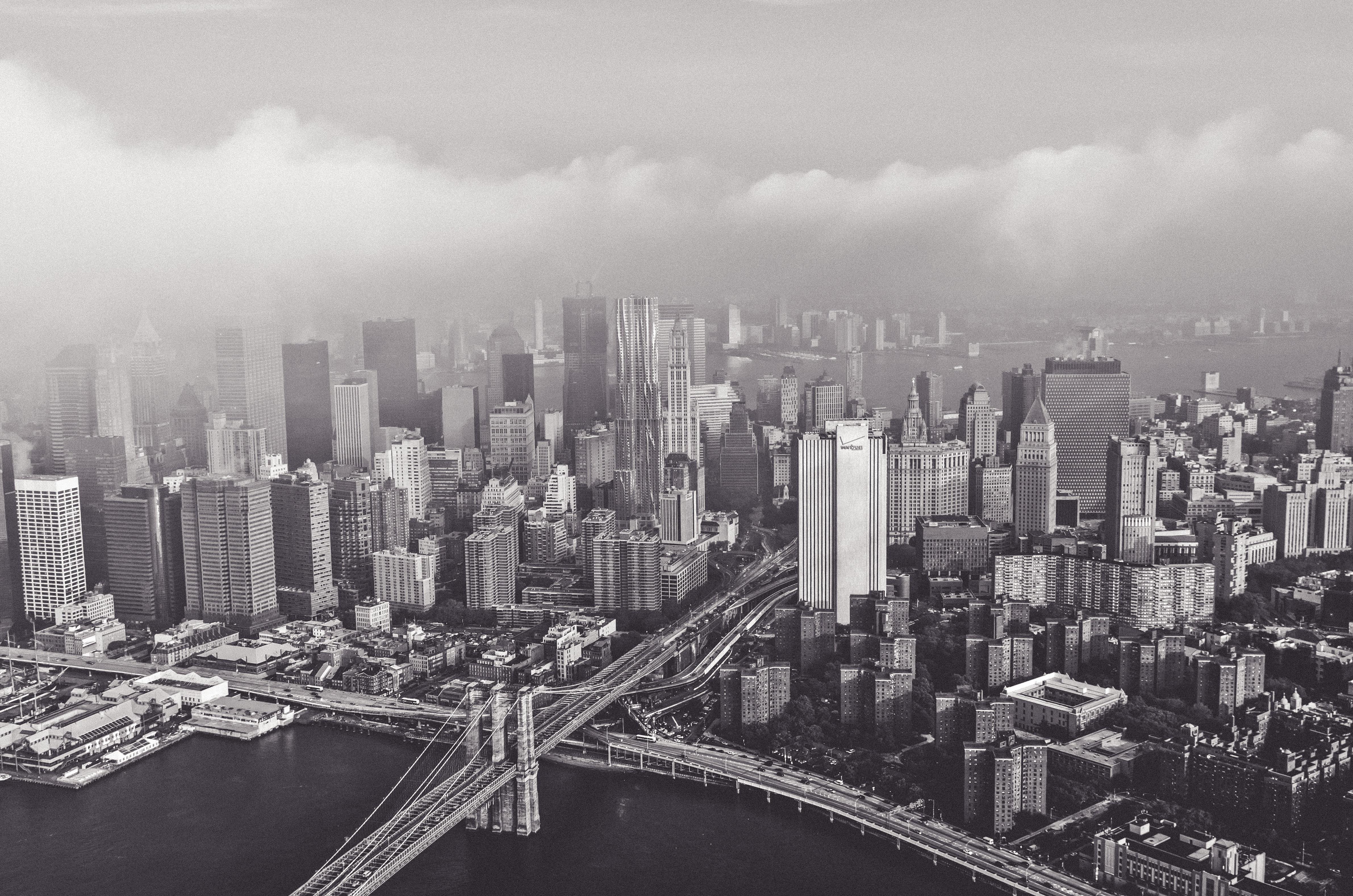 Manhattan in black and white, island, new york, manhattan, bridge, blooklyn, air, photography