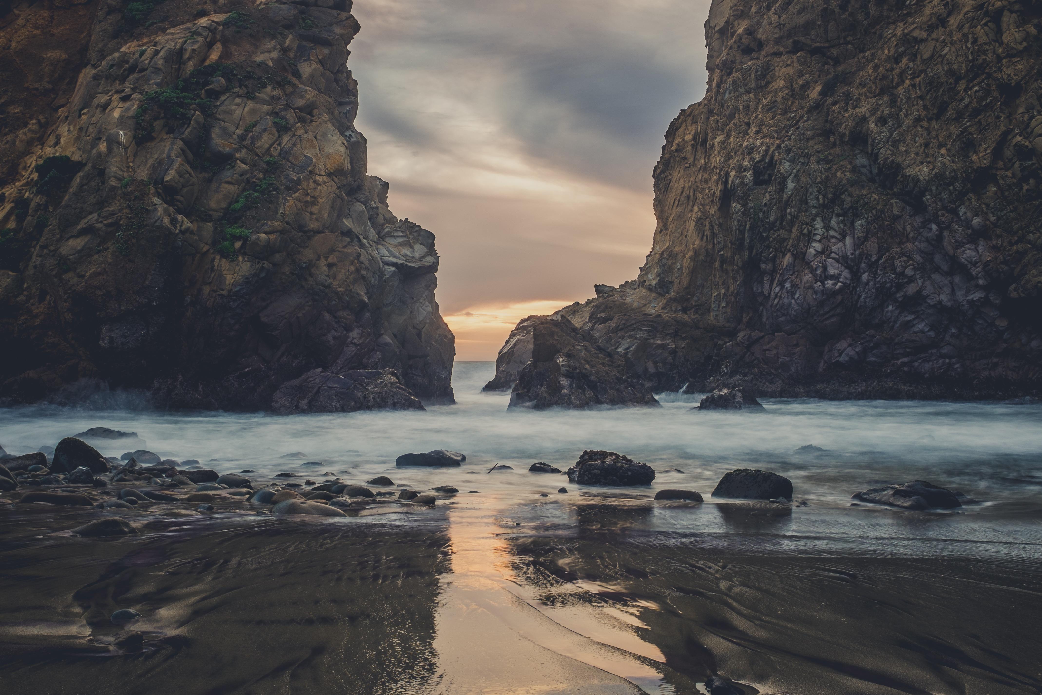 Mountains rocks on the beach, rocks, cliffs, beach, coast, ocean, sea, waves, water