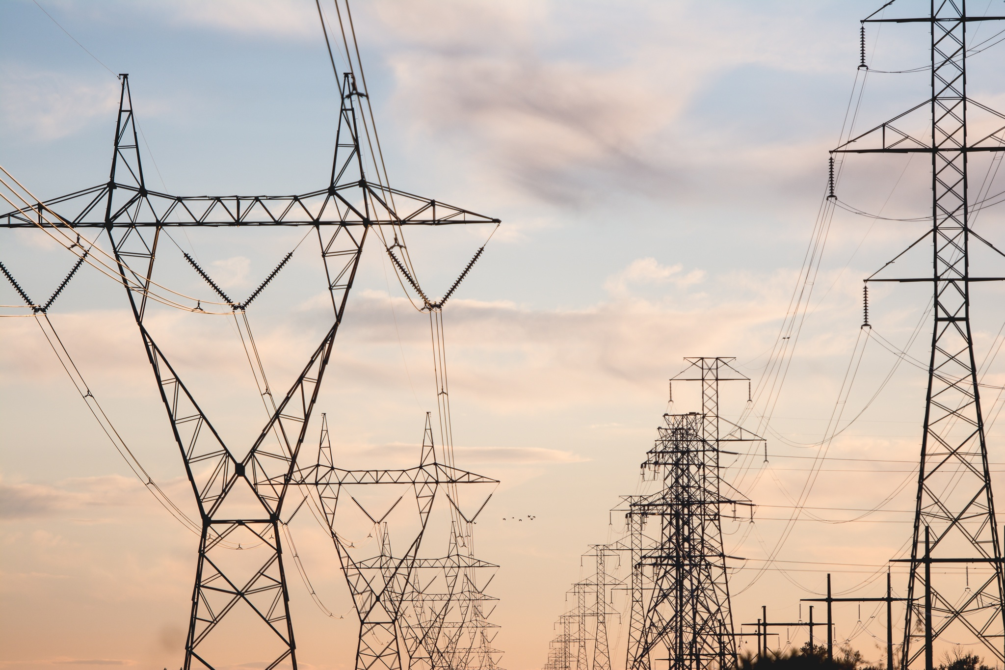 Pylons, electricity, towers, metal, grid, iron, cables, high voltage, light