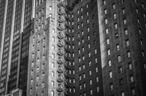 Brick buildings, brick, new york, architecture, black and white, city, street, bricks