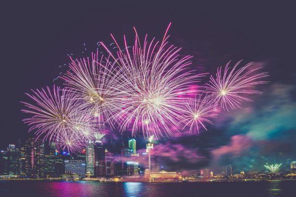 Fireworks, fireworks, night, explosion, city, sky, night, fireworks, celebration, lights