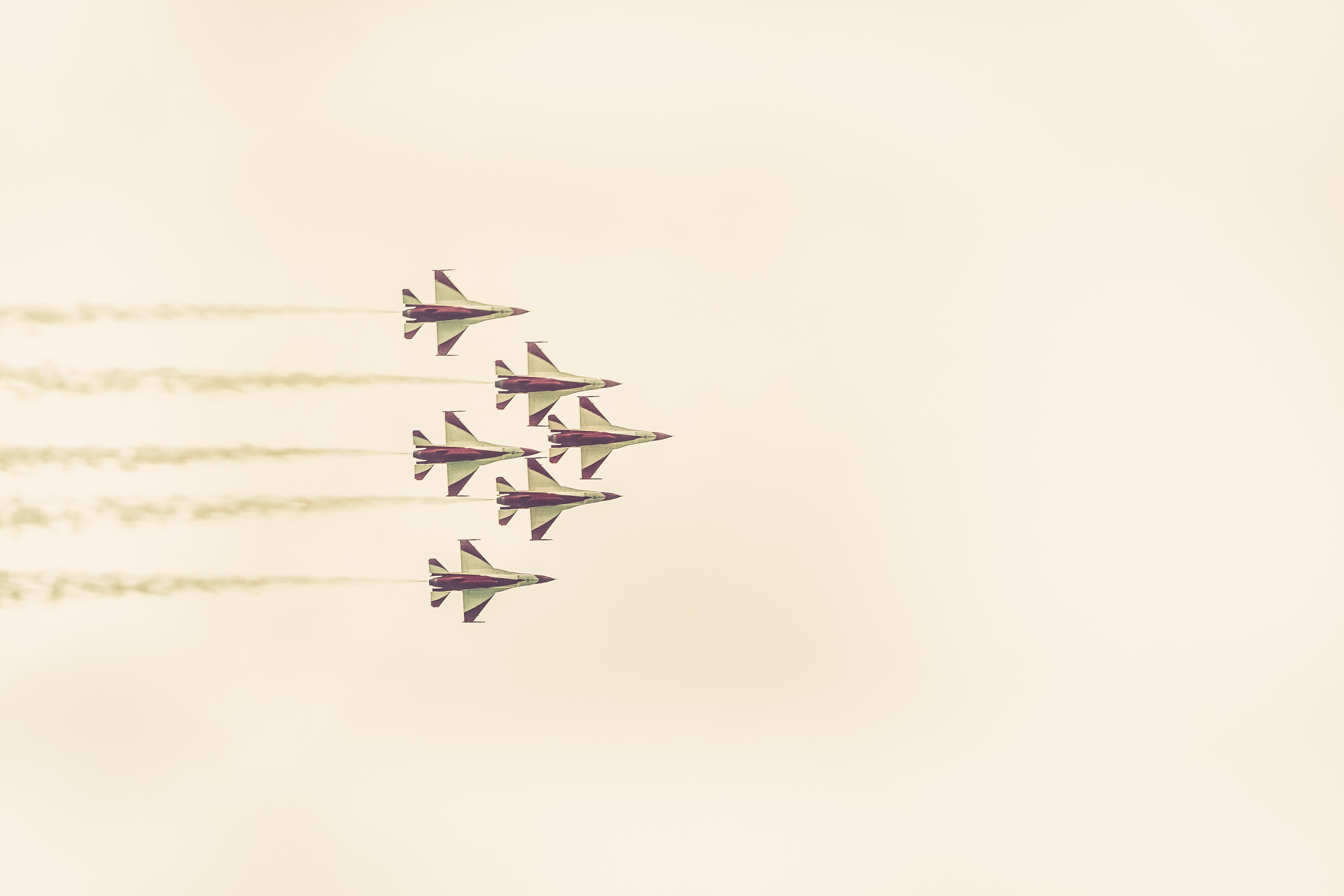 Formation of jets, planes, fighters, aircraft, war, speed, flight, flying, supersonic, training, skill, display, exhibition