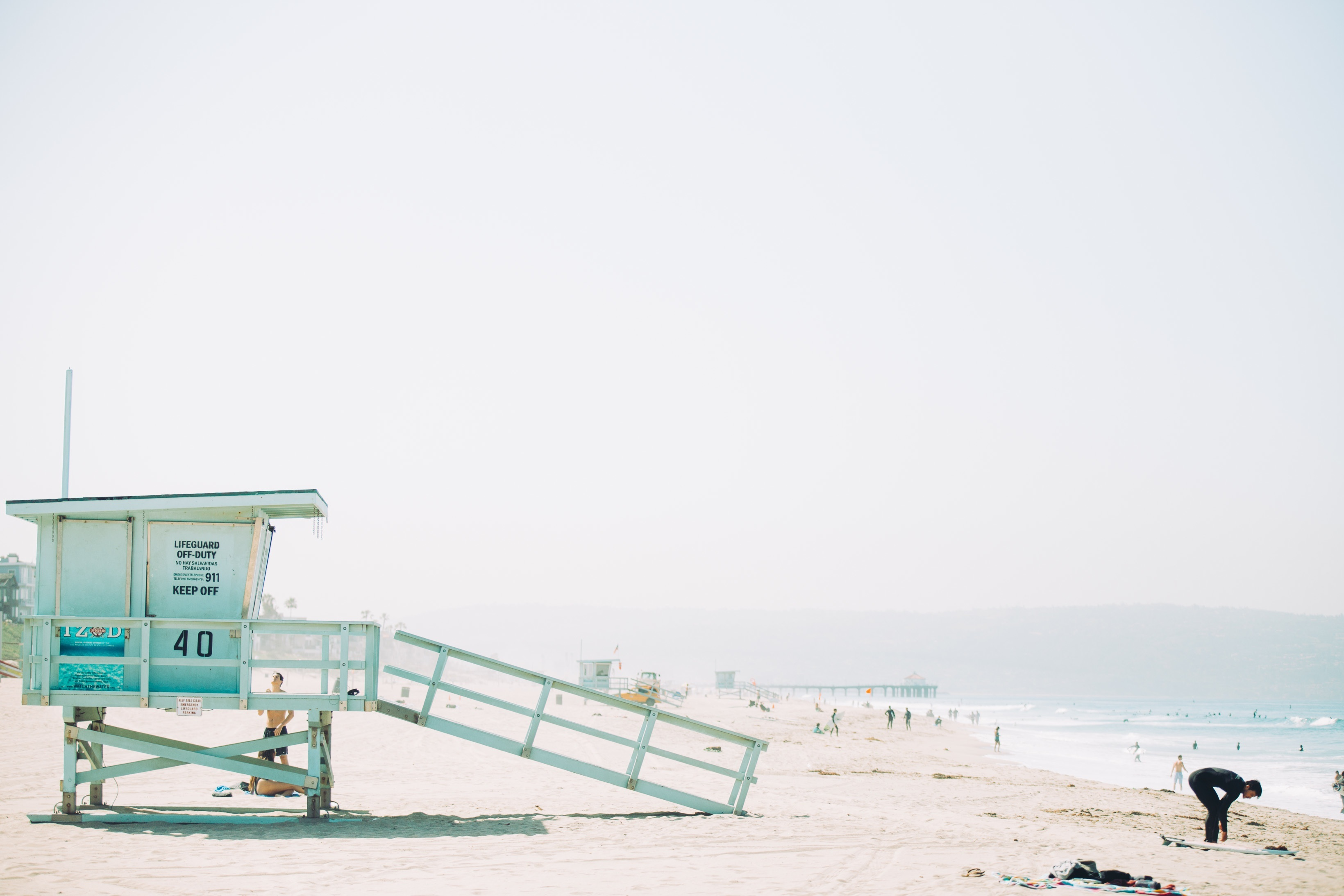 Lookout, beach, coast, lifeguards, people, people, sand, heat, summer