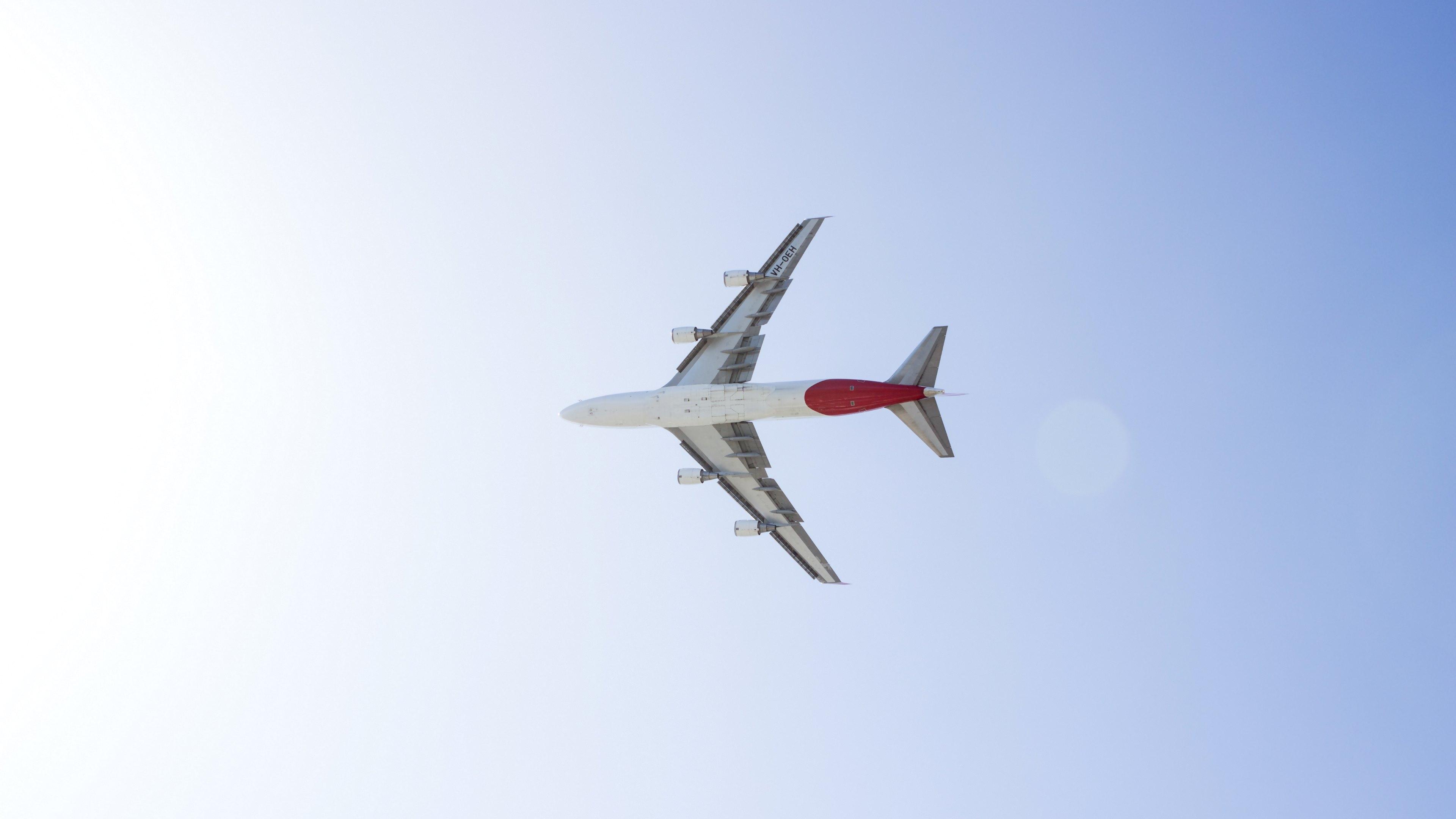 Airplane flying, avion, down, from below, down plane, flight, flight, flying, passengers, wings, lower