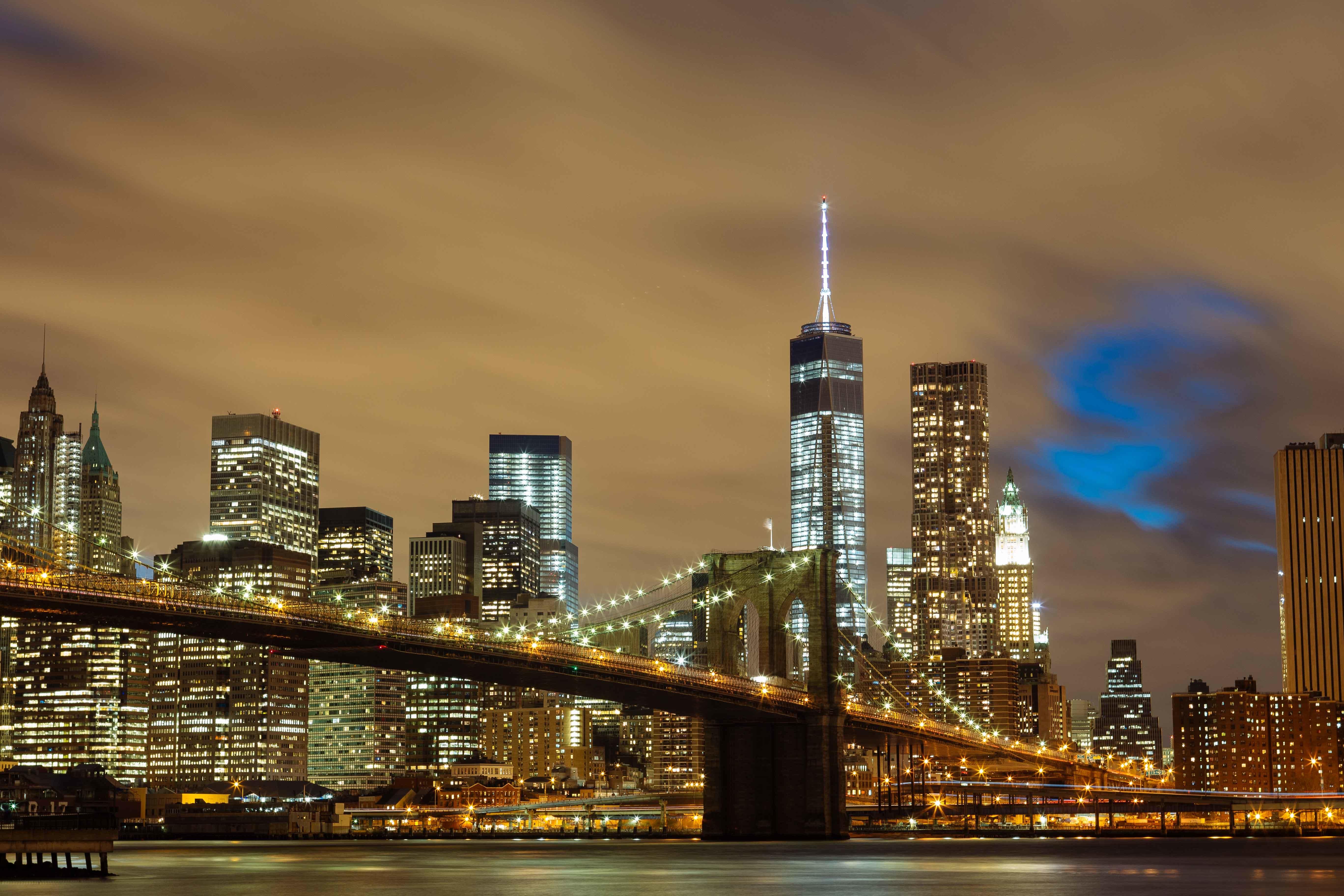 Brooklyn to manhattan bridge, brooklyn, new york, night, lights, bridges, brooklyn, lights