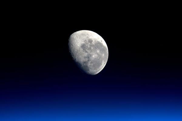 Crescent moon, moon, sky, space, sky, night, light, reflection, lunar surface, craters