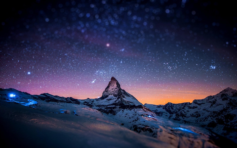 Peak at night, peak, snow, snow, cold, night, stars, sky, mountains, mountain at night