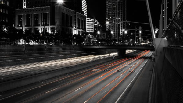 Moving city, highway, lights, black and white, red, light, motion, velocity, displacement, flow