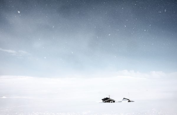 Great snow, snow, snow, white landscape, lonely, lonely, cottage, house, chosa