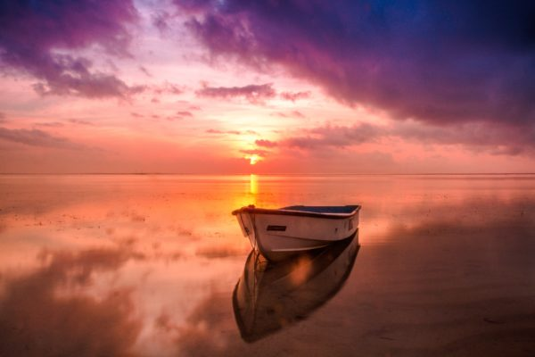 Lonely boat at sunset, sunset, sky colors, colorful sunset, beach, coast, boat, canoe