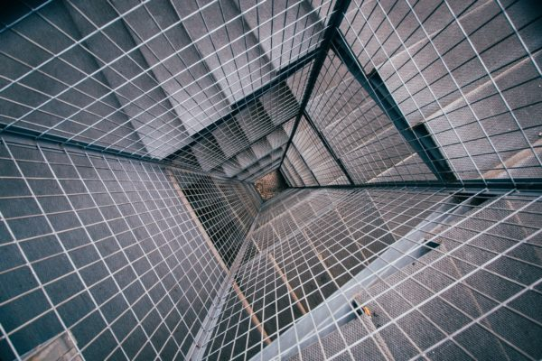 Metal grid, architecture, metal, gray, checkered grid perspective
