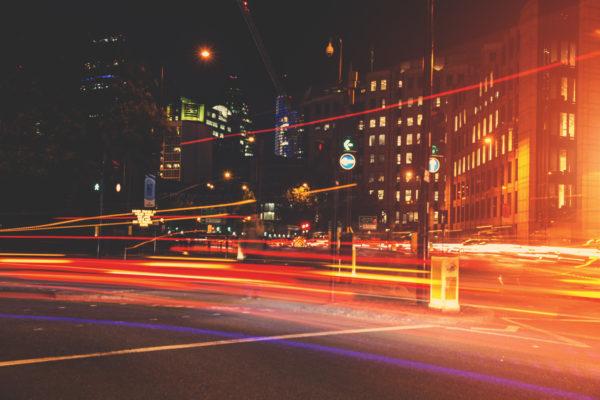 Moving lights at night, lights, cars, red lights, moving lights, street