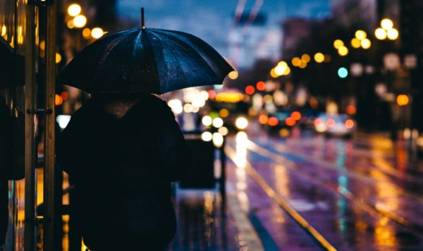 Rainy Night in San Francisco, rain, umbrella, street, night, lights, San Fransico