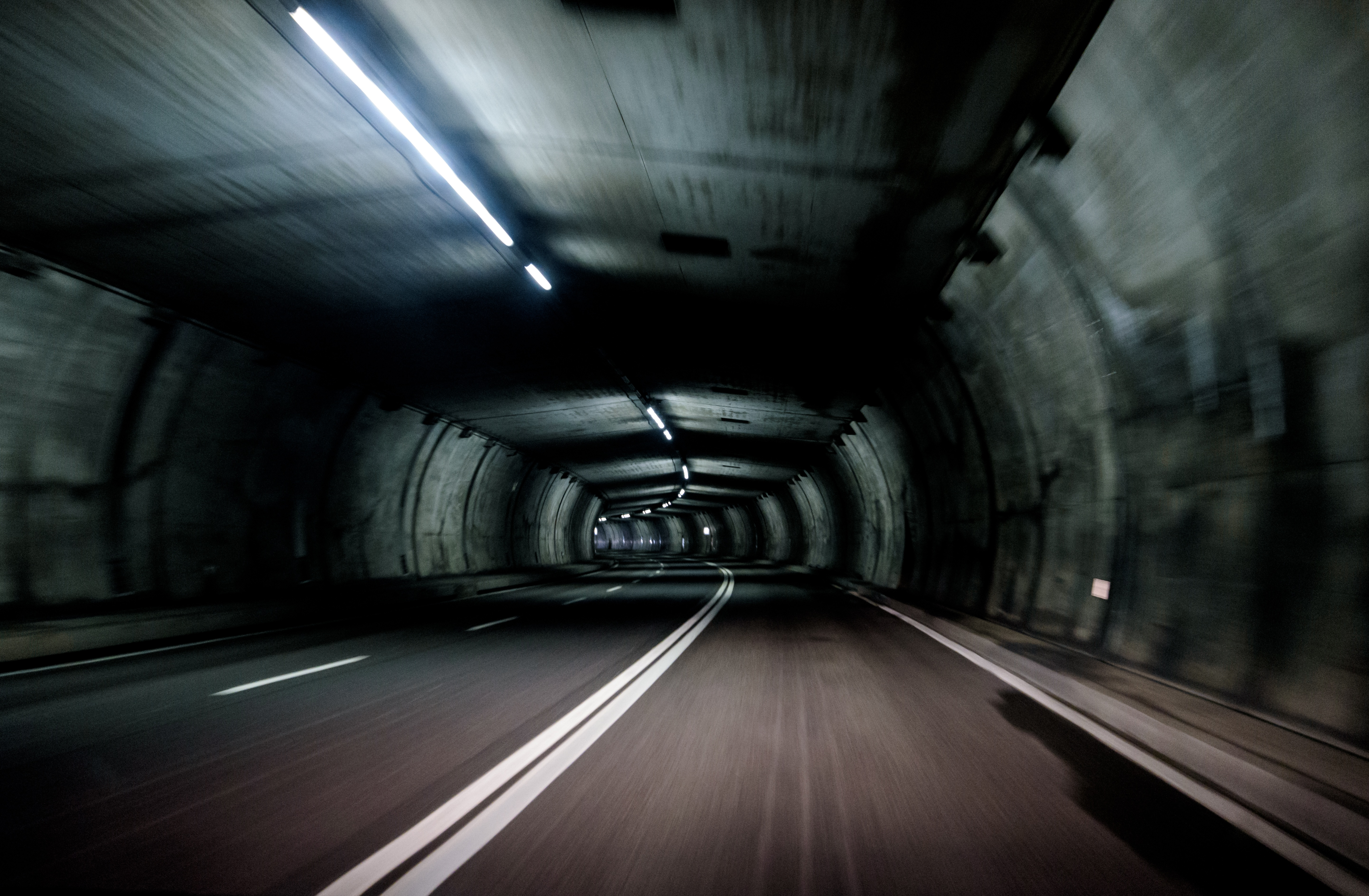 Road tunnel, tunnel, road, underground, under water, white and black, tunnel