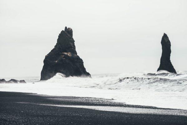 Rocky Coast in Iceland, rocks, beach, cold, coast, ocean, sea, waves, white and black