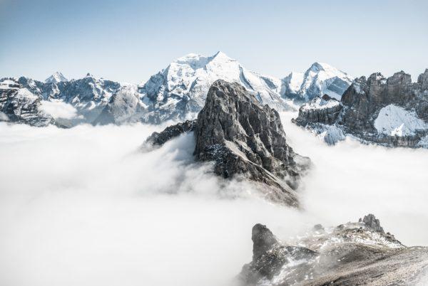 Rocky peak, peak, snow, mountains, mountain, rocks, snow-capped mountains, mountain range