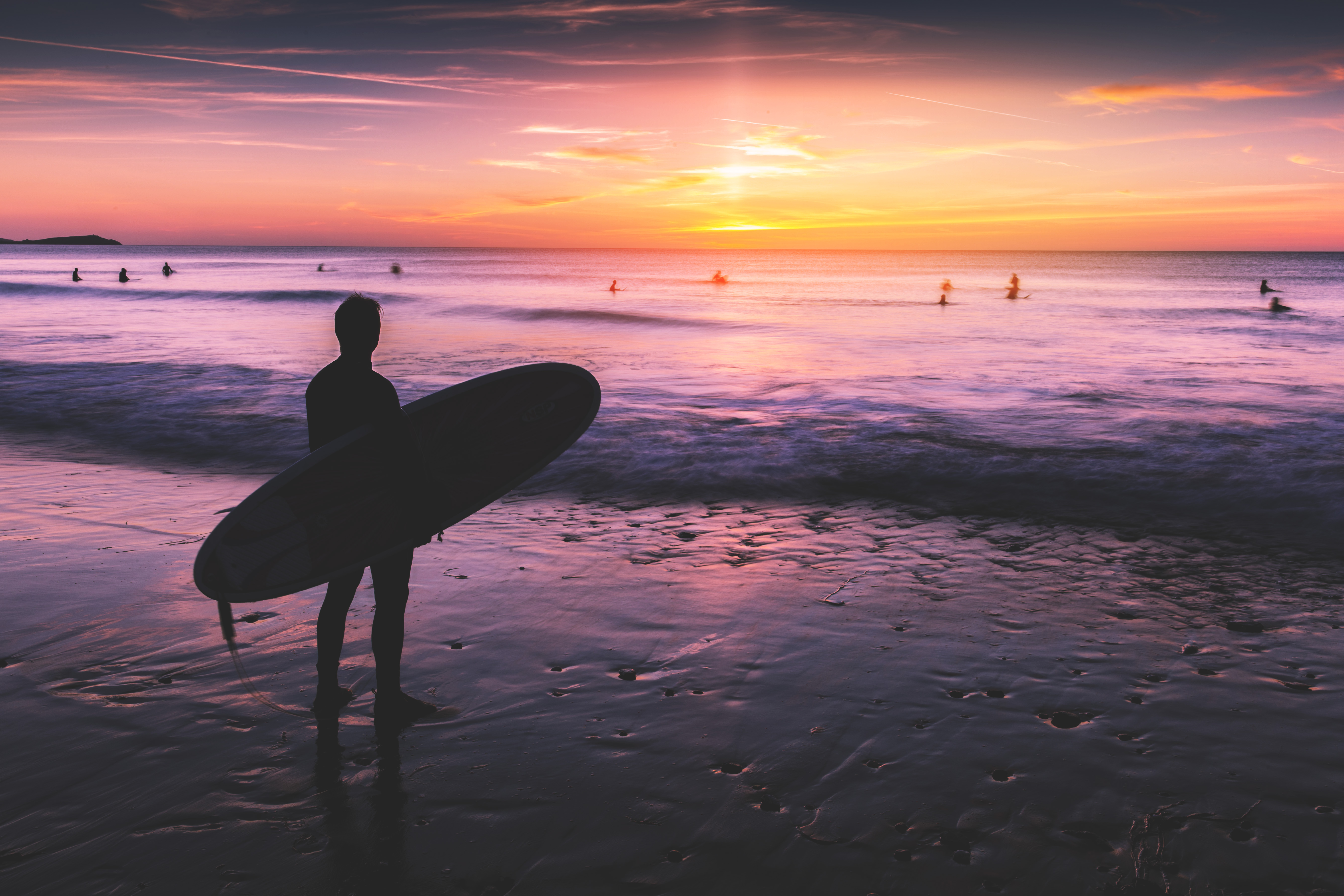 Surfer on the beach at sunset, surfer, surfing, sunset, ocean, sea, ocean, water, waves