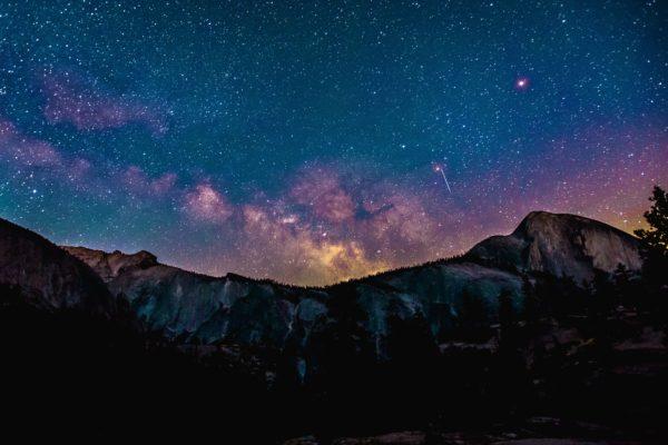 Yosemite Park night, night, stars, mountains, cliffs, trees, nature, outside, freedom
