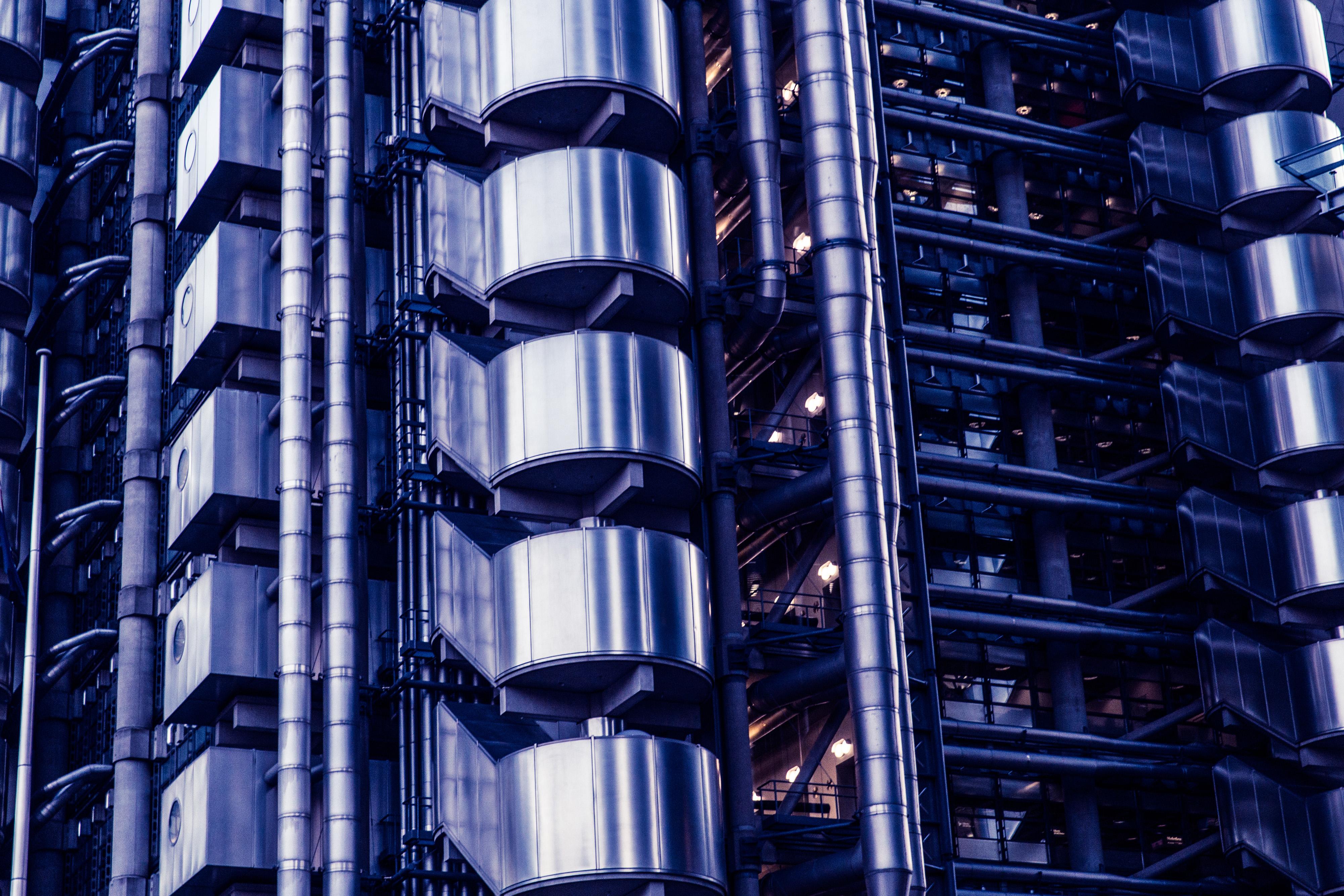 lloyds building London - Richard Rogers, arquitectura, metal, edificio, Ivan Harbour, Mike Davies, Lloyd's