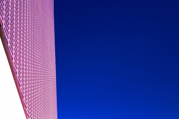 Architectural skin, pink, pink skin, skin, building, architecture, sky, blue, contrast