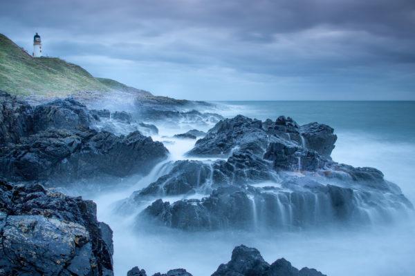 Rocky coastline and lighthouse, rocky, coast, beach, sea, ocean, waves
