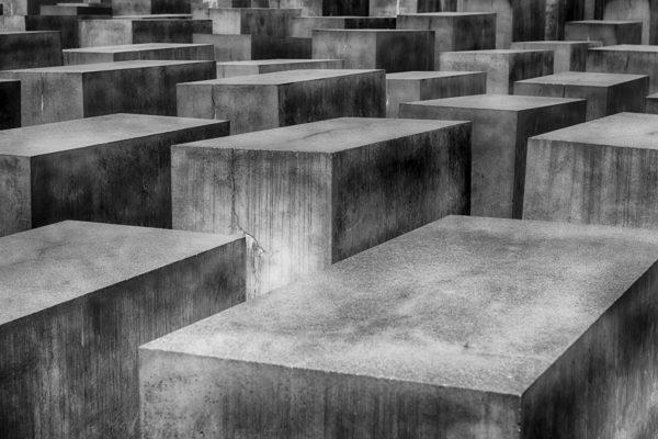 Holocaust monument, prismatic concrete blocks, blocks, concrete, burnt, black and white, memory, monument, germany