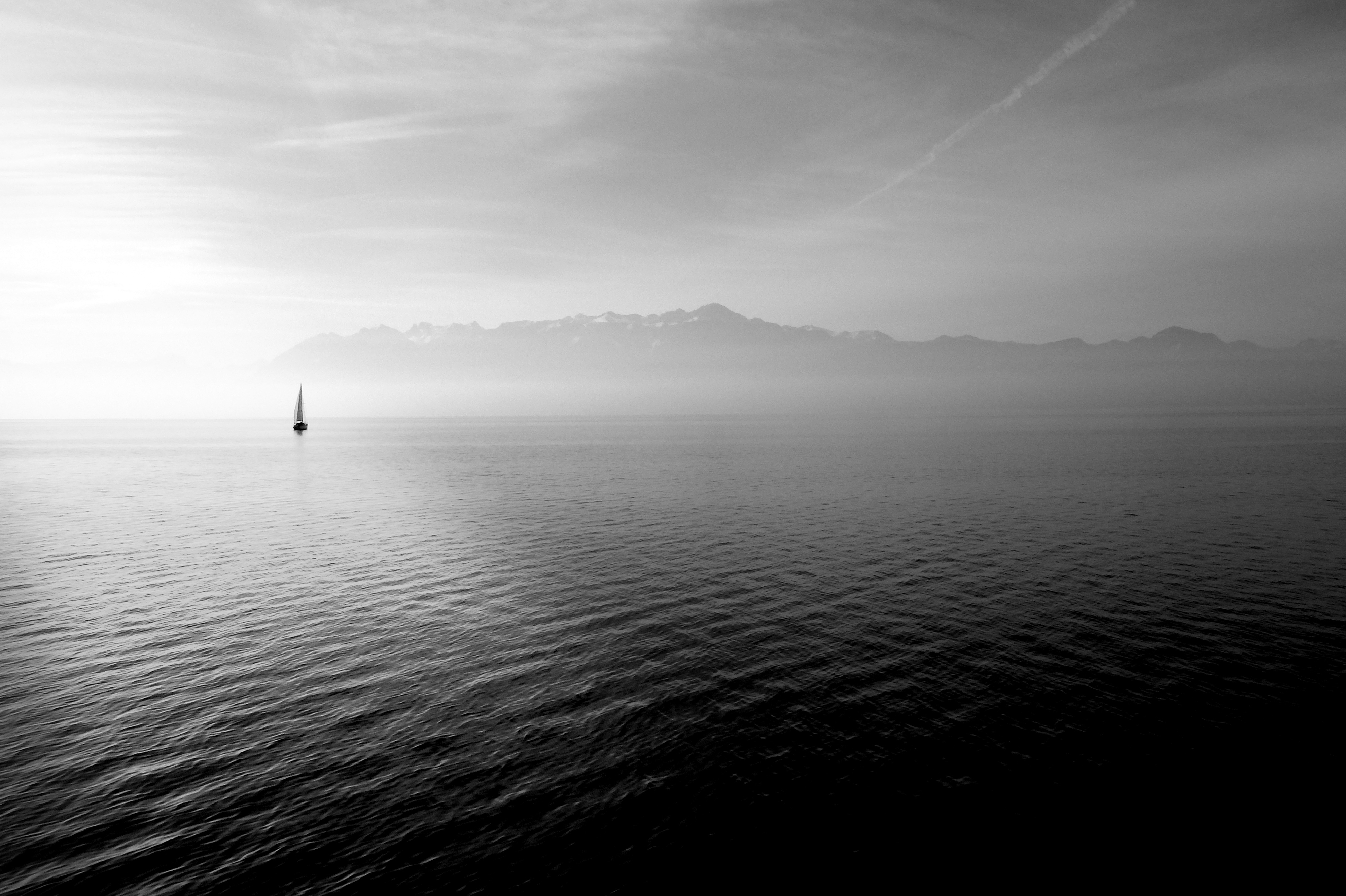 Lonely sailboat, black and white, sailboat, bay, water