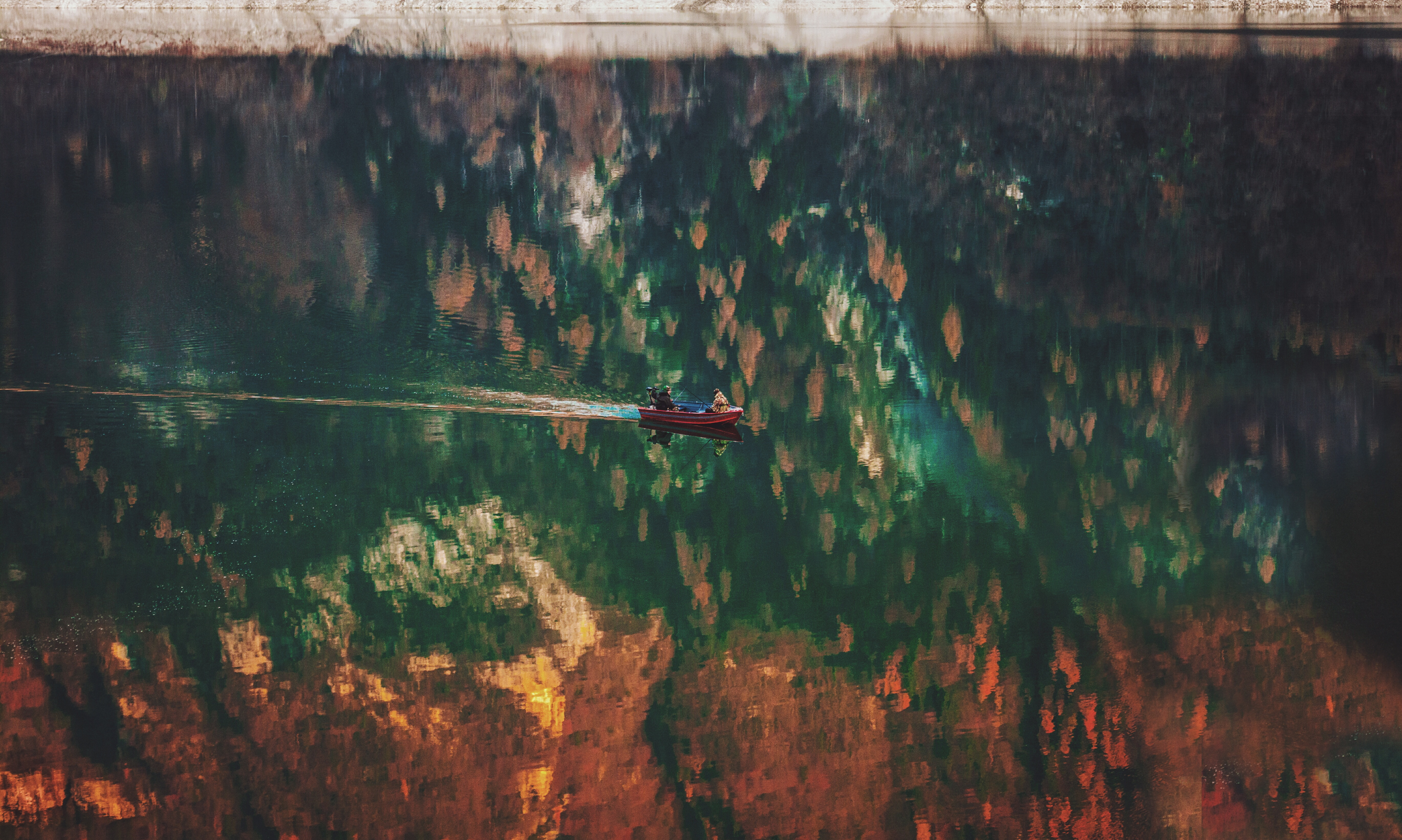 Reflection in the calm lake, calm, lake, water, reflection, boat, boat