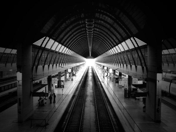 Santa Justa Station in Seville, station, train, trains, railroads, passenger, white and black