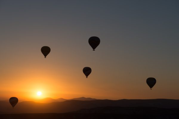 Silhouette of hot air balloons at sunset, balloons, sunset, silhouettes, shadows
