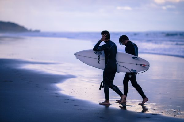 Surfer on the beach, surfing, surfer, surfboard, consists, waves, beach