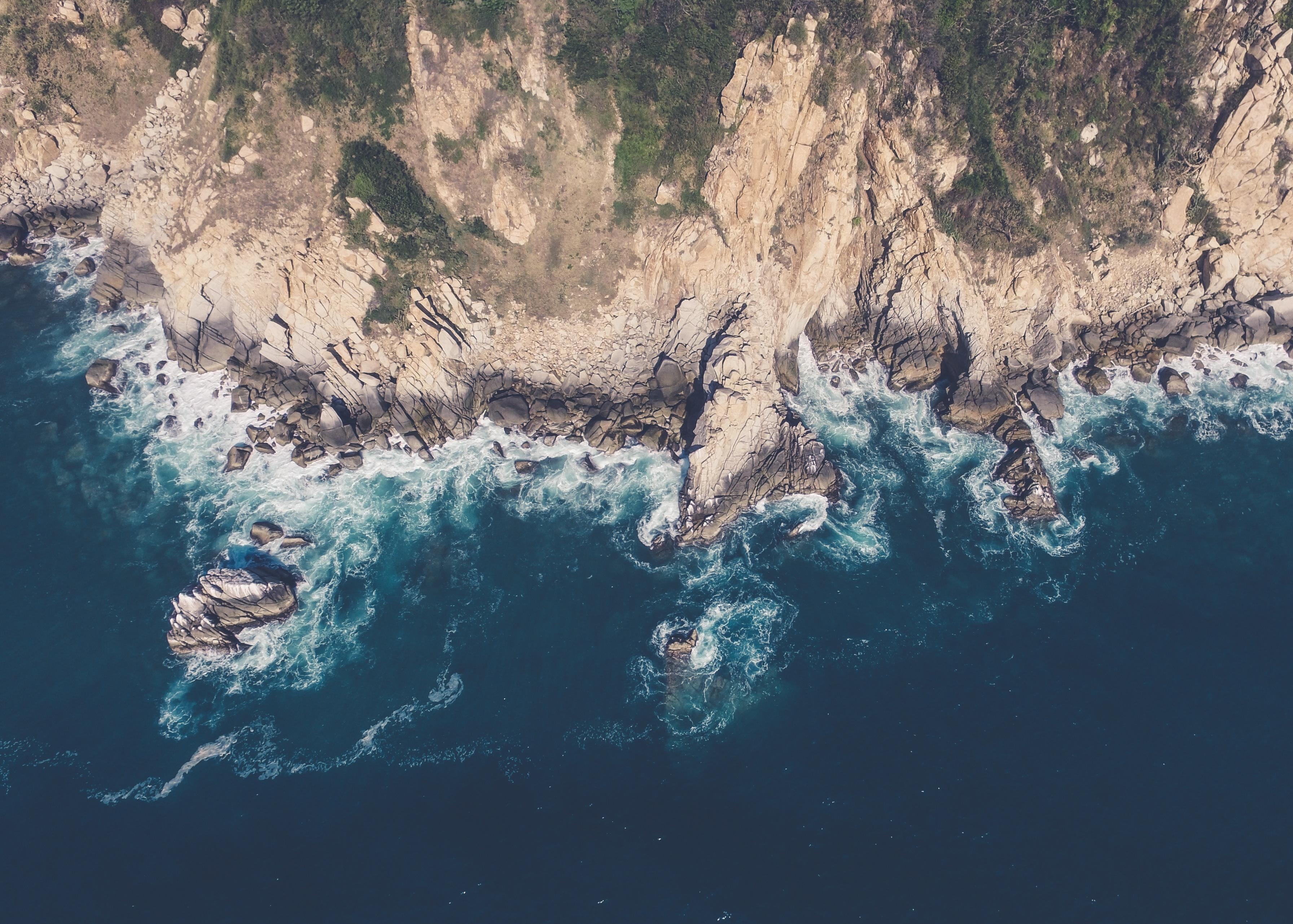Coast of Acapulco Mexico, coast, cliff, rocks, beach, shore, sea, ocean, waves, water, blue