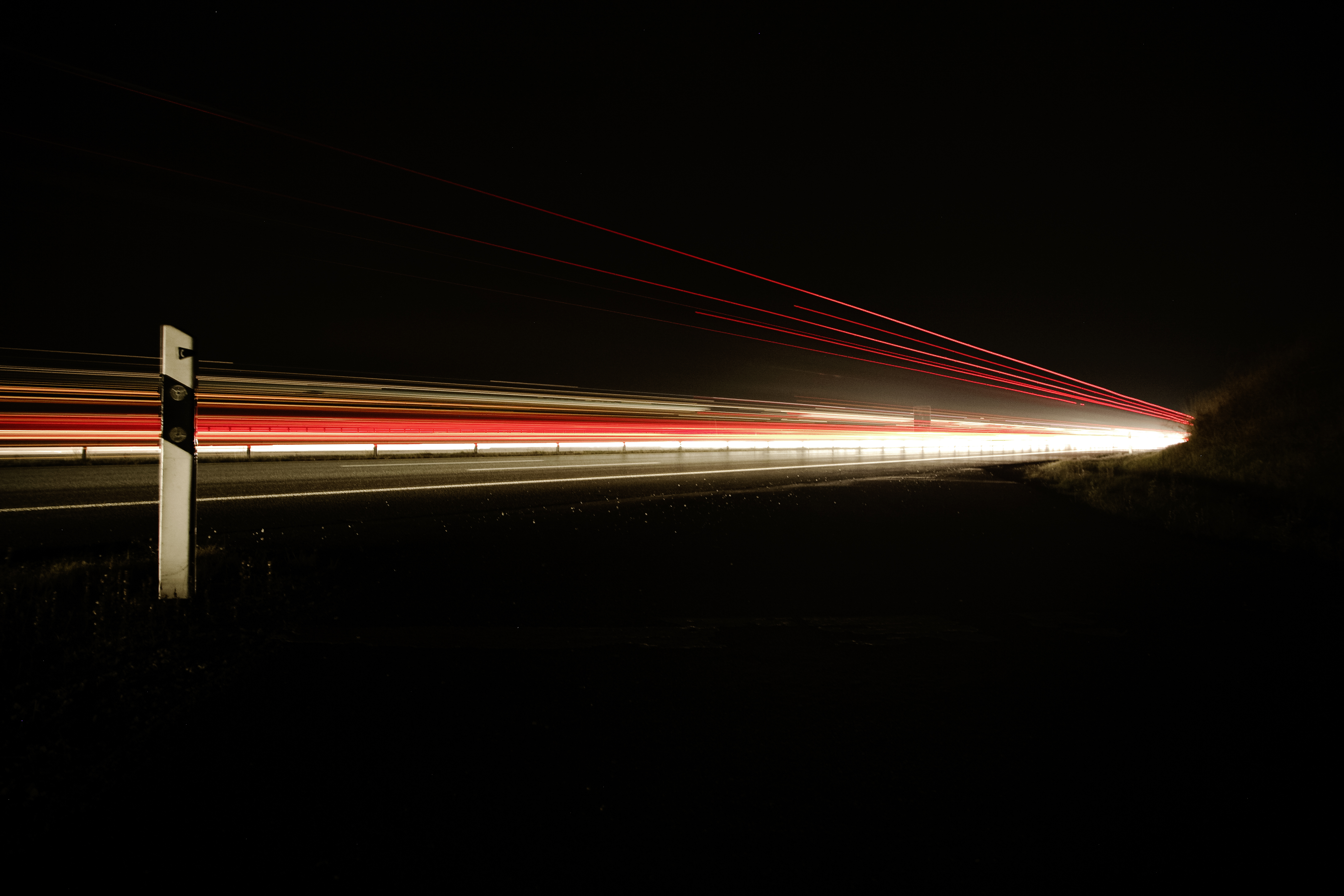 Motion on route, lights, route, speed, flash, car, red light, white light