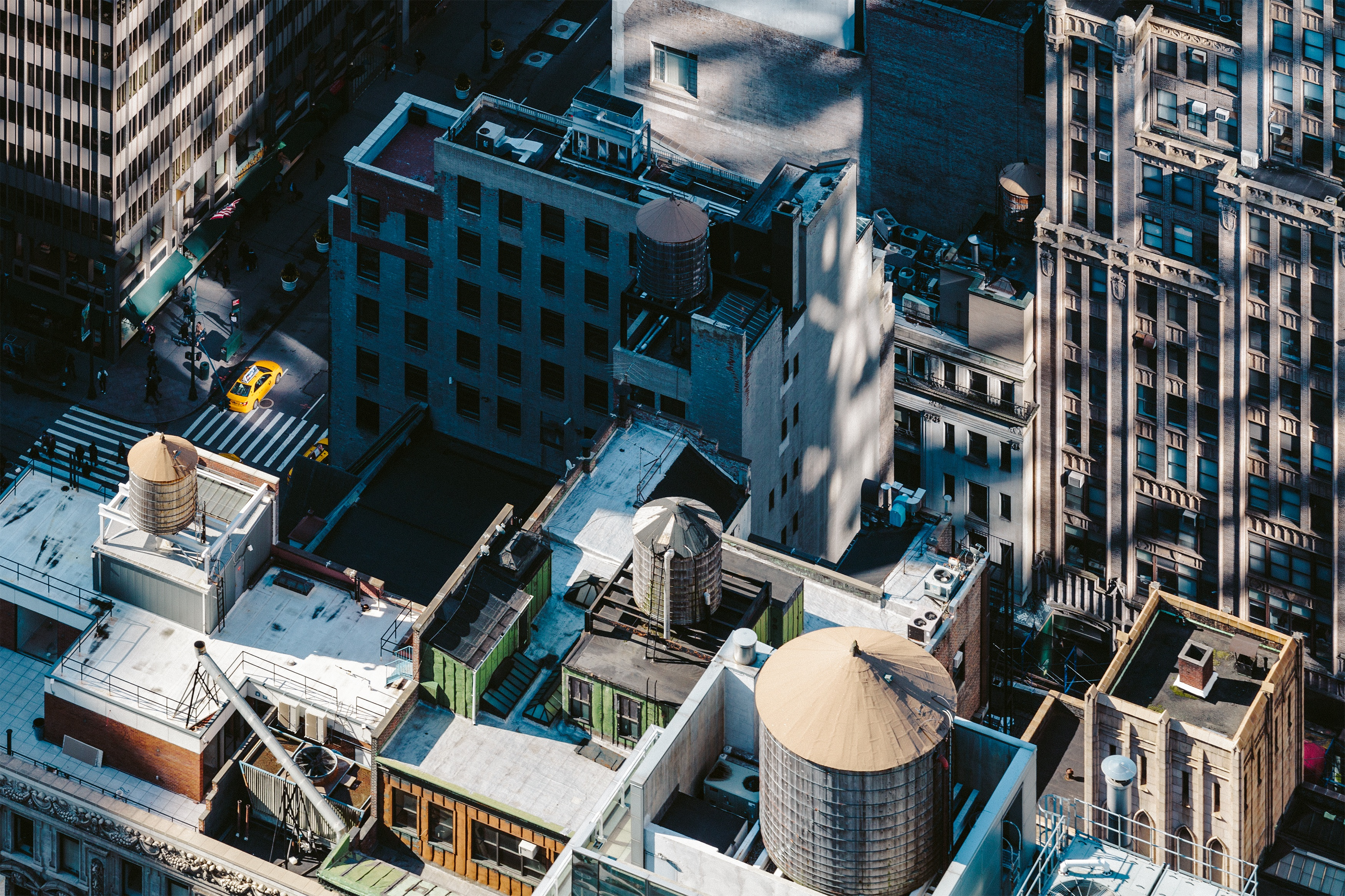 New York rooftops, roofs, terraces, city, urban, street, buildings, skyscrapers,