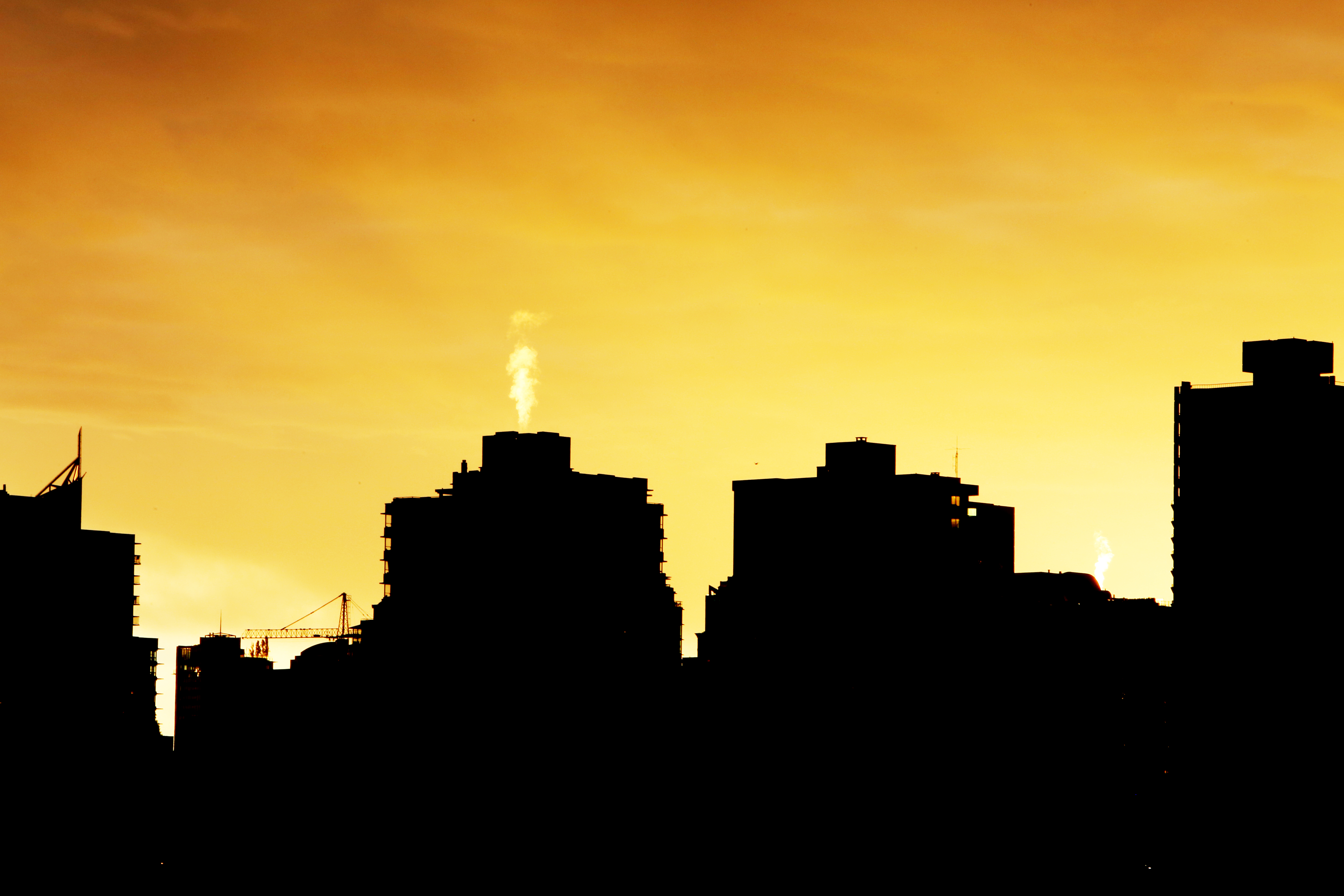 Silhouette of buildings at sunset, silhouettes, shadows, buildings, evening, sunset, city