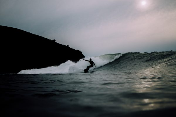Silhouette of surfer, surf, silhouettes, black and white, waves, sea, ocean, beach, coast, sport, surfers