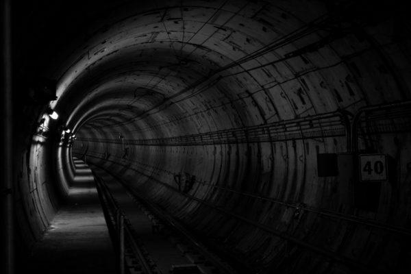 Underground tunnel, tunnel, underground, black and white, subway