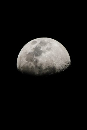 Crescent moon, moon, craters, gray, space