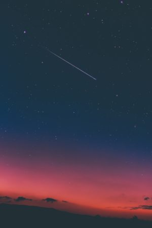 Shooting star in the sky, sky, sunset, mountains, alba