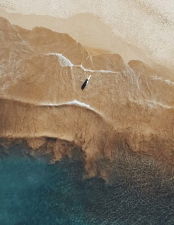 Surfer alone on the beach, aerial view, waves, beach, surfing, sports, sand, water, blue, yellow